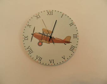 Aircraft  wall clock,  kids room  coloured,  Housewares, nurcery wall clock, gift for boys or girls,  animal wall clock