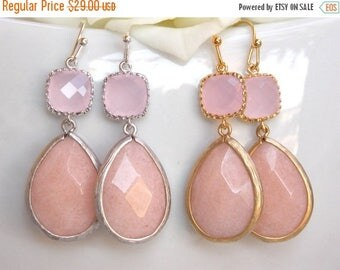SALE Wedding Jewelry,Bridesmaid Jewelry, Pink Agata and Ice Pink,Soft Pink Agata,Bridesmaid Earrings,Brides Gifts, Drop,Silver,Gold, Dangle,