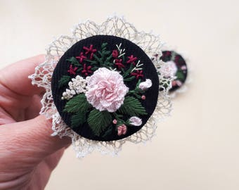 Romantic Brooch - Embroidered Brooch - Floral Brooch- Embroidered Jewelry - Gift for her - Special Gift