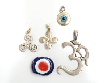 Pendant collection, evil eye, retro pendant set