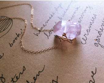 Crystal Necklace -Rose Quartz Crystal Necklace  - Rose Quartz Pendant Necklace - Crystal Healing Necklace - Rose Quartz