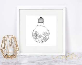 Ocean Landscape Drawing, Ocean Artwork, Lightbulb Ocean Environment Drawing, - Original Pen and Ink Artwork