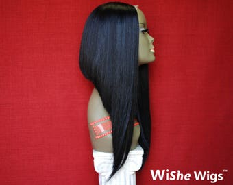 "WiShe Orange: 100% Remy Human Hair Upart Wig- Asymmetrical Bob with 18"" Long Hair"