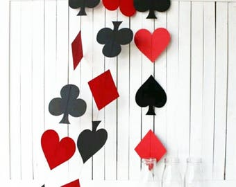 Poker Night Garland, Alice in Wonderland, Casino Decor, Poker Night Decorations, Playing Cards, Casino Party, Poker Party Decorations