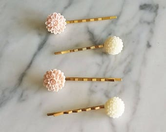 Floral gold hair pins set of 4 in pink & white for bridal prom everyday