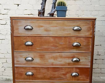 Upcycled Chest of Drawers Five Drawers Copper and Champagne Luxecycled