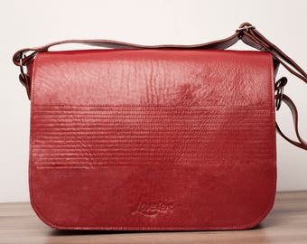 Leather handbag, leather bag, leather messenger bag - Marikym model of LOUBIER