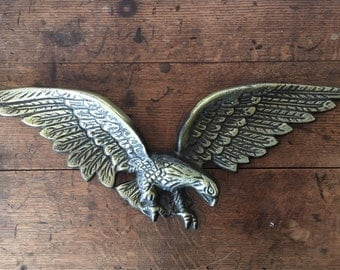 Gold American Eagle Wall Hanging, Metal Eagle Wall Decor, Vintage Made in Japan Metal Art