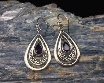 Free Dangling Teardrop Amethyst Earrings // Bali Amethyst Earrings // 925 Sterling Silver