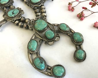 Vintage Squash Blossom Necklace. Fox Turquoise. Navajo. Vintage Jewelry. Southwestern Jewelry