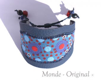 Fabric Cuff Bracelet blue fabric coral Crystal Australian leather
