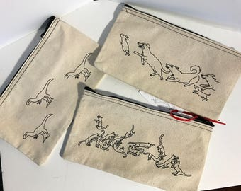 Zipper Bags / Pencil case - FEATURING original art and modeled by emily burke ! Dino's , Cats or Dogs!!