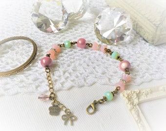 Shabby chic bracelet Pink Pearl powder and sea green