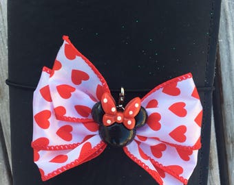 Valentine's Day Minnie Mouse Traveler's Notebook Disney Bow Charm