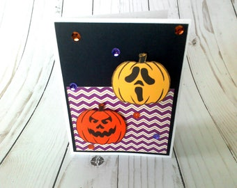 Halloween Card, Jackolantern Card, Halloween Greeting, Paper Greeting Card, Handmade Card, Halloween Notecard, Blank Halloween Card