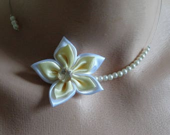 wedding flower ivory crystal bridal wedding necklace