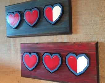 Wooden Zelda heart container wall art