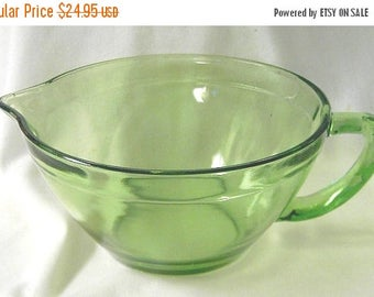 ON SALE Glass Batter Bowl in Olive Green