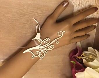 White wedding bracelet * bird arabesque *.