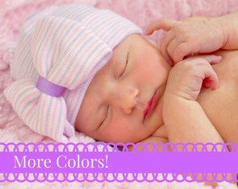 newborn girl hat baby girl hospital hat girls hospital hat coral mint  purple pink white hat, coming home hat, homecoming hat