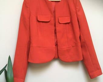 Vintage Red Short Elegant Office Work Evening Jacket
