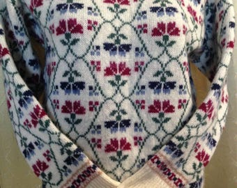 laura Ashley vintage jumper sweater Made in Scotland exc M/L