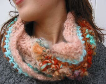 "Snood in fancy ""nude, amber and turquoise"" and hand spun wool"