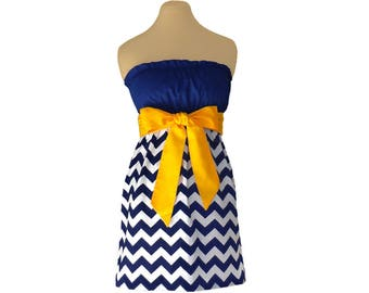 Navy or Blue + Yellow Chevron Game Day Dress