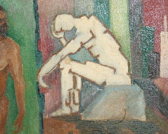 Vintage European abstract figures oil painting signed