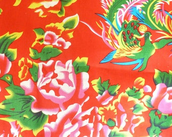 fabric Peony Chinese traditional red 10 m