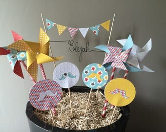Cake Toppers Decoration name windmill mustache birthday wedding baptism