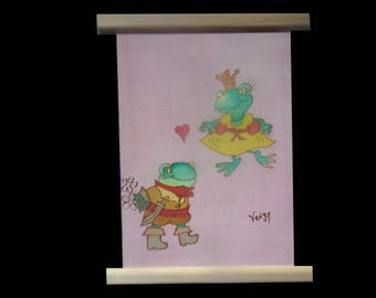 the frog and her prince, silk painting the main@evysoie