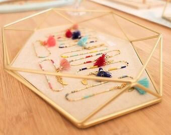 Bracelet chaîne fine, coloré en perles de verre japonaises Miyuki, pomon de fil, laiton doré à l'or fin 24k