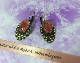 Earrings ' ear romantic bronze sequins and Red cabochon
