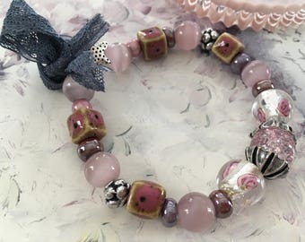 romantic pink silver bracelet glass beads