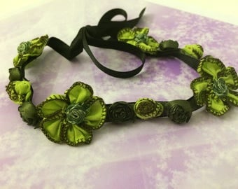 romantic flowers and black satin neck Choker