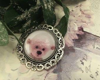 White bear brooch