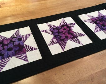 Modern quilted star table runner, purple black white table topper, star wall hanging, dresser runner,  coffee table mat