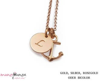 Initial chain anchor gold plated 925 silver art. 209-A