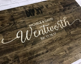 Rustic Wedding Guest Book Alternative   Rustic Wedding Decor   Wood Guest Book   Family Name Design   Personalized Guest Book