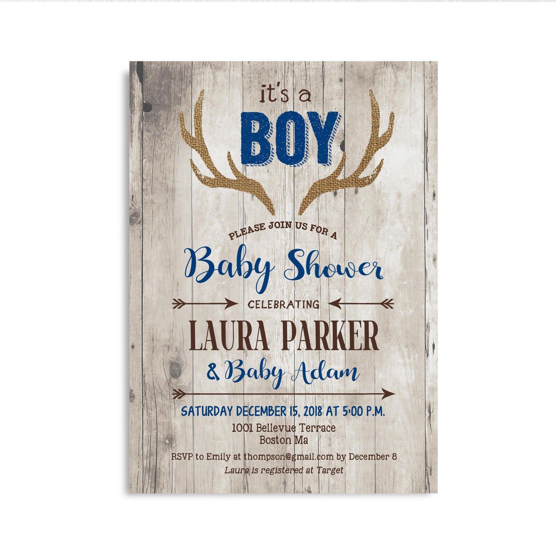 Deer Baby Shower Invitation For Boy Antlers Rustic Wood Navy Blue