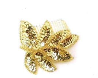 Gold Sequin Leaf Hair Comb Art Deco Bridesmaid Vintage Grecian 1940s Style 3079
