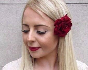 Burgundy Deep Red Rose Flower Hair Clip Fascinator 1950s Rockabilly 1940s 3950