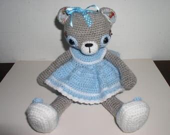 Teddy bear toy crocheted with acrylic