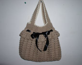 crochet beige cotton bag and black ribbon