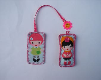 Bookmark and Keyring set girl fabric