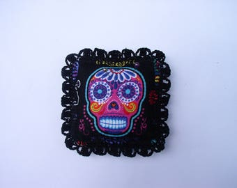 Mexican skull fabric pin