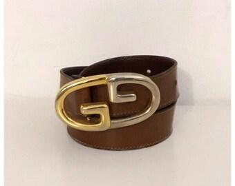 GUCCI - 70/80s Gucci Logo Belt - Vintage Gucci Leather Brown Belt - Size S/M