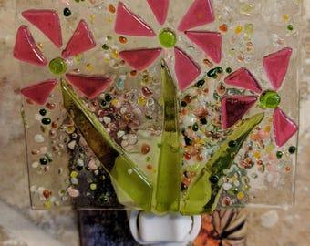 Handmade Happy Pink Flowers Fused Glass Night Light