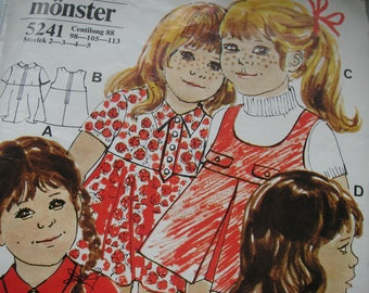 Sewing pattern girls dresses, Sizes 2 - 3 - 4 - 5 years, centilong 88 - 98 - 105 - 113, uncut vintage supply